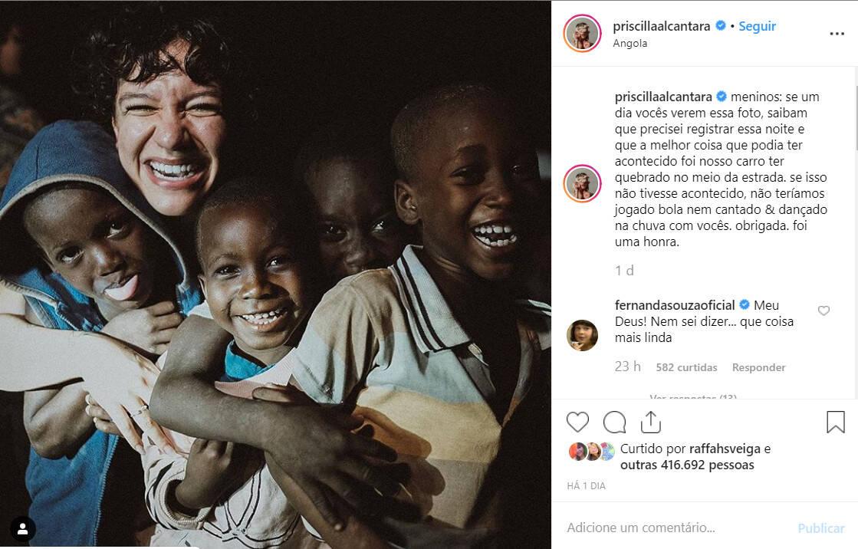 Priscilla Alcantara em viagem missionária a Angola