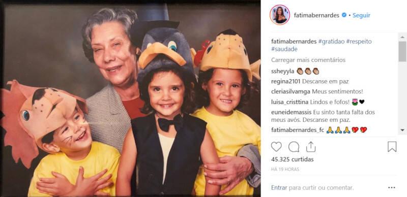 Fátima Bernardes homenageia ex-sogra com foto no Instagram / Foto: Reprodução