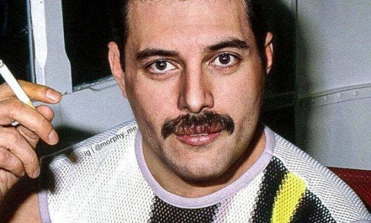Rami Malek e Freddie Mercury fundidos em uma imagem