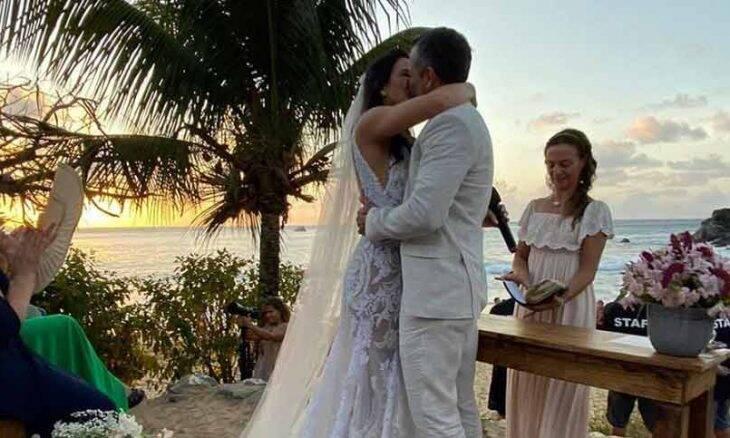 Kyra Gracie divulga foto inédita de seu casamento com Malvino Salvador em Fernando de Noronha