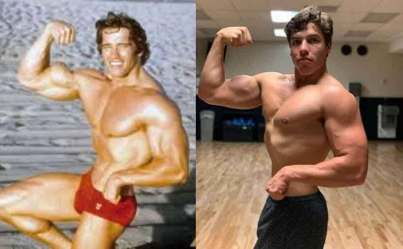 Filho do astro Schwarzenegger repete pose icônica do pai e músculos impressionam