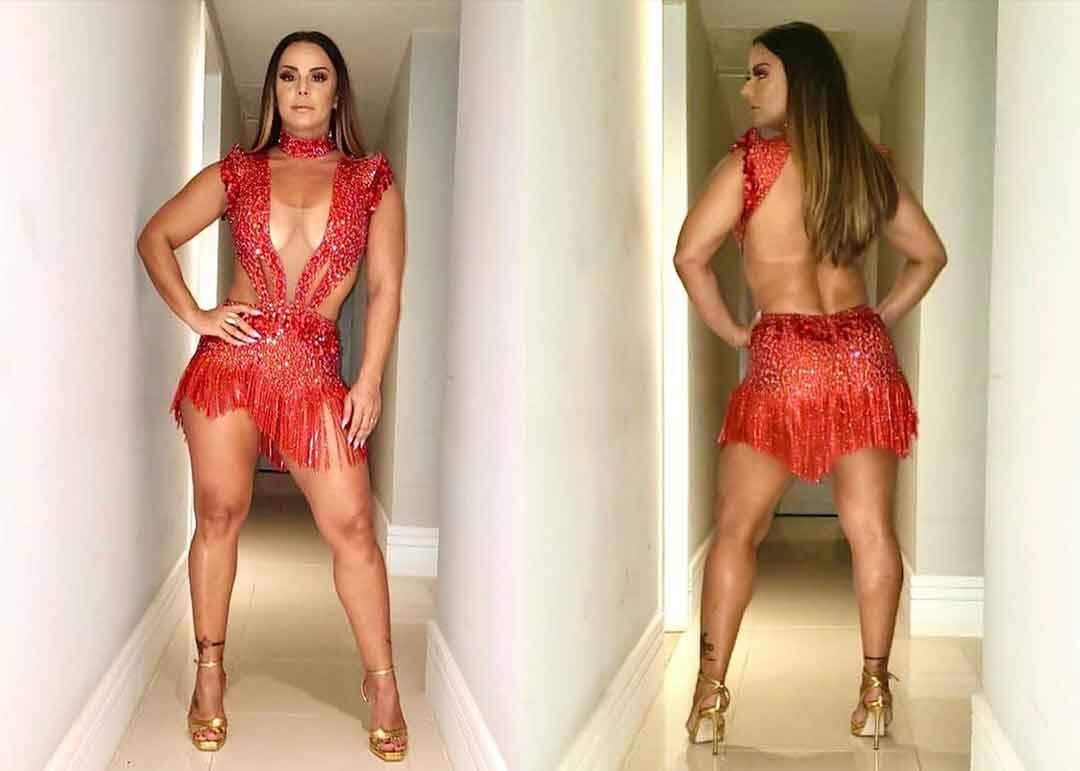 De look vermelho transparente, Viviane Araújo para tudo em ensaio da Salgueiro