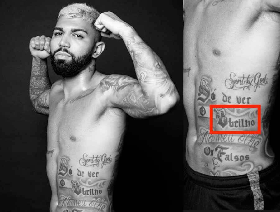 Erro bizarro em tattoo de Gabigol chama a atenção e internet não perdoa