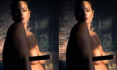 Na reta final da gravidez, Ashley Graham posa para foto nua