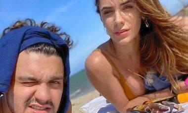 Luan Santana curte dia na praia com 'Sereia' em Maceió