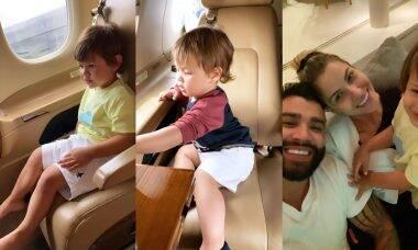 Gusttavo Lima ostenta em seu jatinho de R$ 178 milhões com os filhos e a mulher