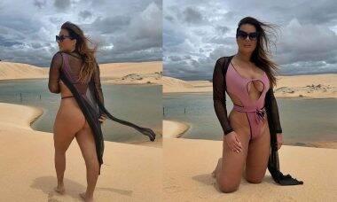 No Ceará, Geisy Arruda posa com biquíni minusculo e web vai à loucura