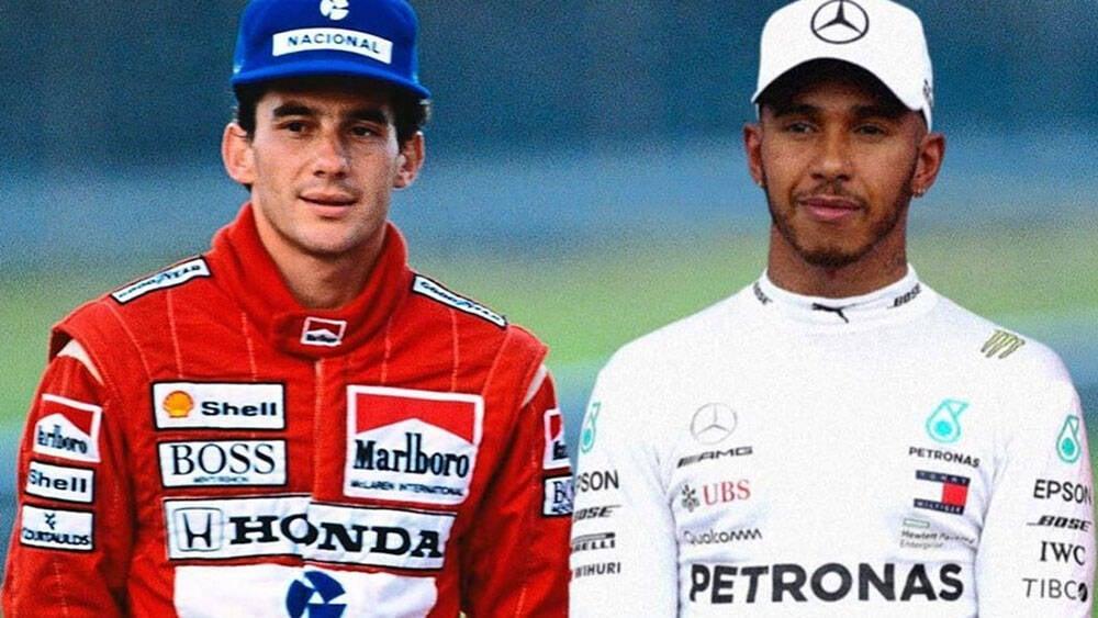 Lewis Hamilton surpreende com foto ao lado de Ayrton Senna