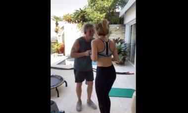 Ana Furtado dança com Boninho após treino