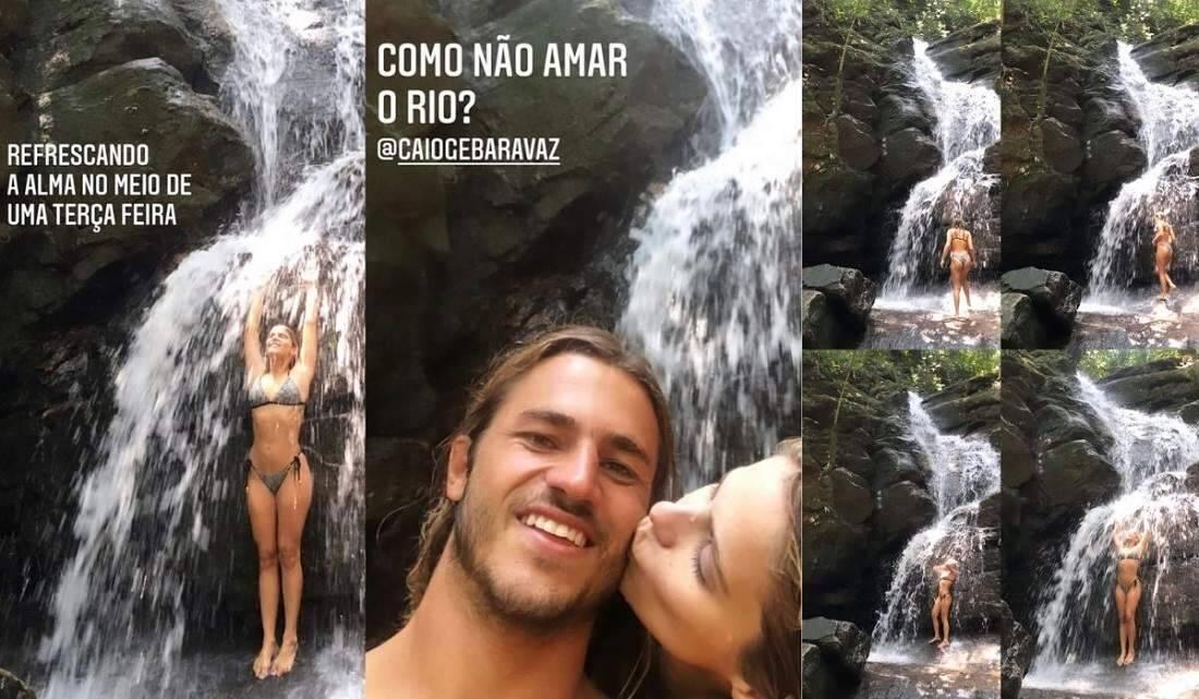 Isabella Santoni curte dia em cachoeira com o namorado Caio Vaz