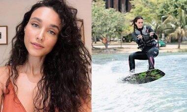 """Débora Nascimento posta suas manobras radicais de wakeboard: """"saudade dos pulinhos"""""""