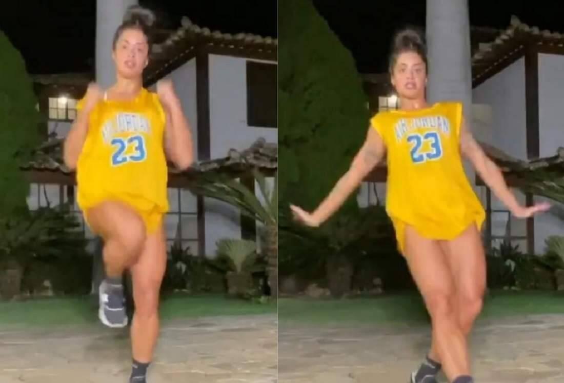 """Aline Riscado surpreende dançando em vídeo e responde seguidor: """"sou ex bailarina, amore!"""""""