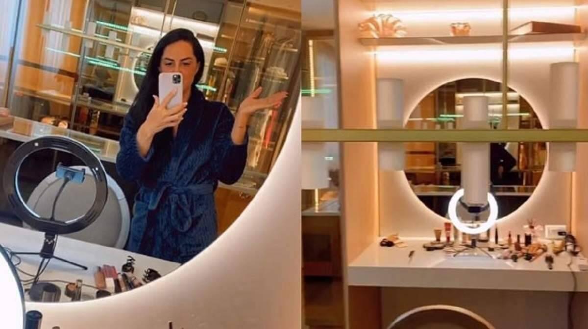 De apartamento novo, Graciele Lacerda mostra closet com Zezé Di Camargo