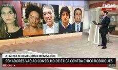 """Andréia Sadi se assunta durante transmissão ao vivo e brinca: """"Acho que foi o Chico Rodrigues"""""""