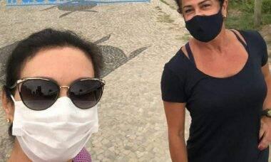 """Fátima Bernardes volta a se exercitar na praia após sete meses: """"gosto especial de recomeço"""""""
