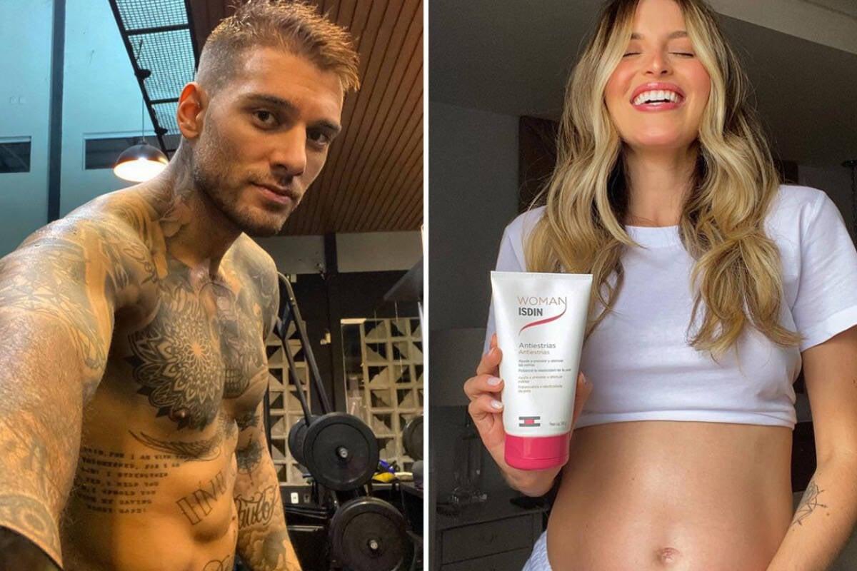 Lucas Lucco brinca com a barriguinha de grávida da mulher, Lorena Carvalho