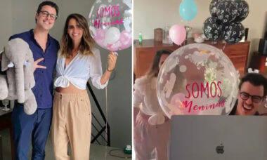 Joaquim Lopes e Marcella Fogaça fazem chá revelação das filhas gêmeas