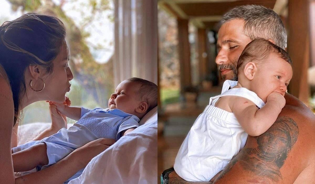 Giovanna Ewbank e Bruno Gagliasso posam com Zyan para celebrar o quarto mês do filho
