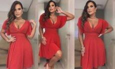 """Geisy Arruda rebate críticas após fotos de vestido vermelho: """"até que enfim está de roupa"""""""