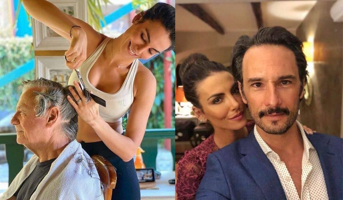 Rodrigo Santoro registra Mel Fronckowiak cortando os cabelos de seu pai e fala sobre amor