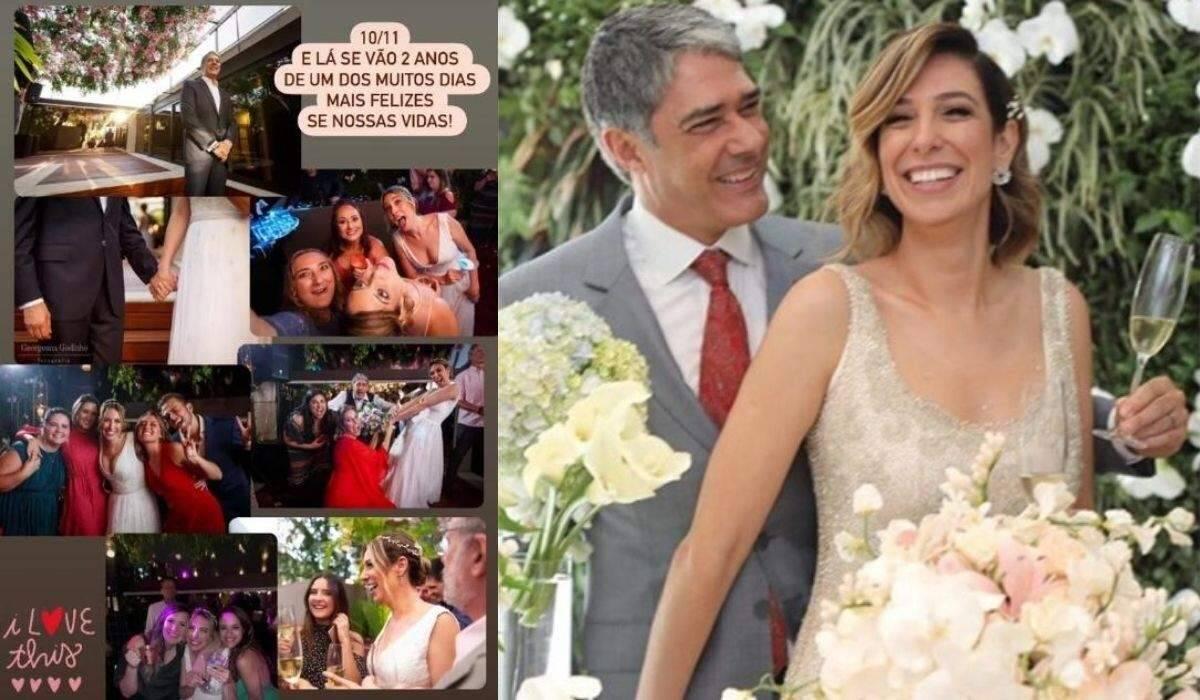 Esposa de William Bonner celebra dois anos de união com fotos do casamento
