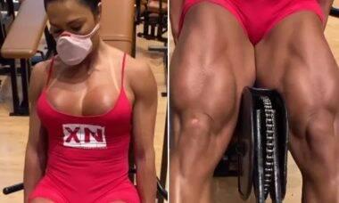 Gracyanne Barbosa mostra coxas supermusculosas durante malhação