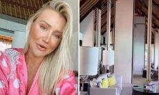 Ana Paula Siebert faz tour pelo quarto de resort nas Maldivas