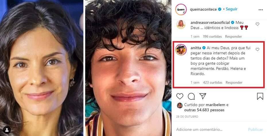 """Anitta dá cantada em filho de Helena Ranaldi: """"mais um boy pra cobiçar mentalmente"""""""