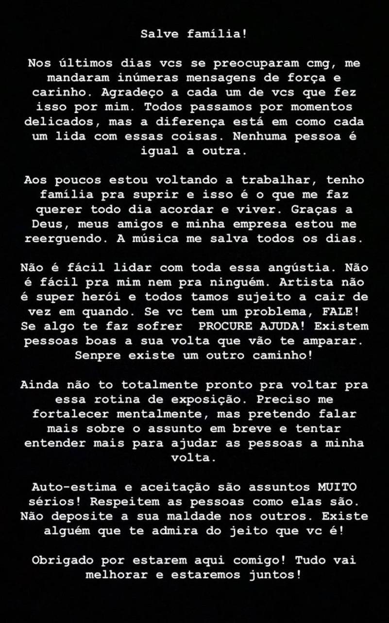 """MC Brinquedo publica novo desabafo: """"Preciso me fortalecer mentalmente"""""""