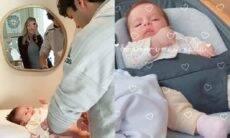 Paternidade em ação! Carol Dias mostra Kaká trocando a fralda da pequena Esther