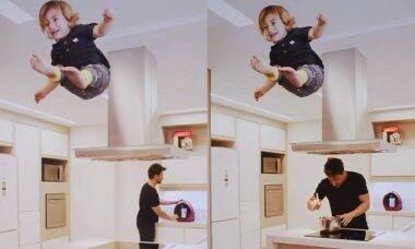 """Julio Rocha diverte os fãs ao postar vídeo do filho """"voando"""" enquanto ele cuida da casa"""