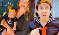 Laura Keller faz festa temática pelo 3 meses do filho e o fantasia de Quico, do Chaves