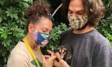 Fabiula Nascimento e Emilio Dantas resgatam e cuidam de gambá que irá voltar à natureza