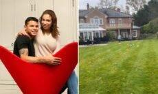 Belle Silva mostra lado de fora da mansão que mora com Thiago Silva