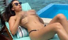 """Em clique sem a parte de cima do biquíni, Márcia Bonde provoca fãs: """"Qual legenda para essa foto?!"""". Foto: Instagram"""