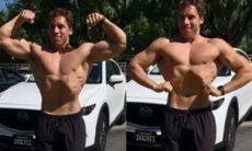 Filho de Arnold Schwarzenegger, Joseph Baena chama atenção ao exibir os músculos em vídeo