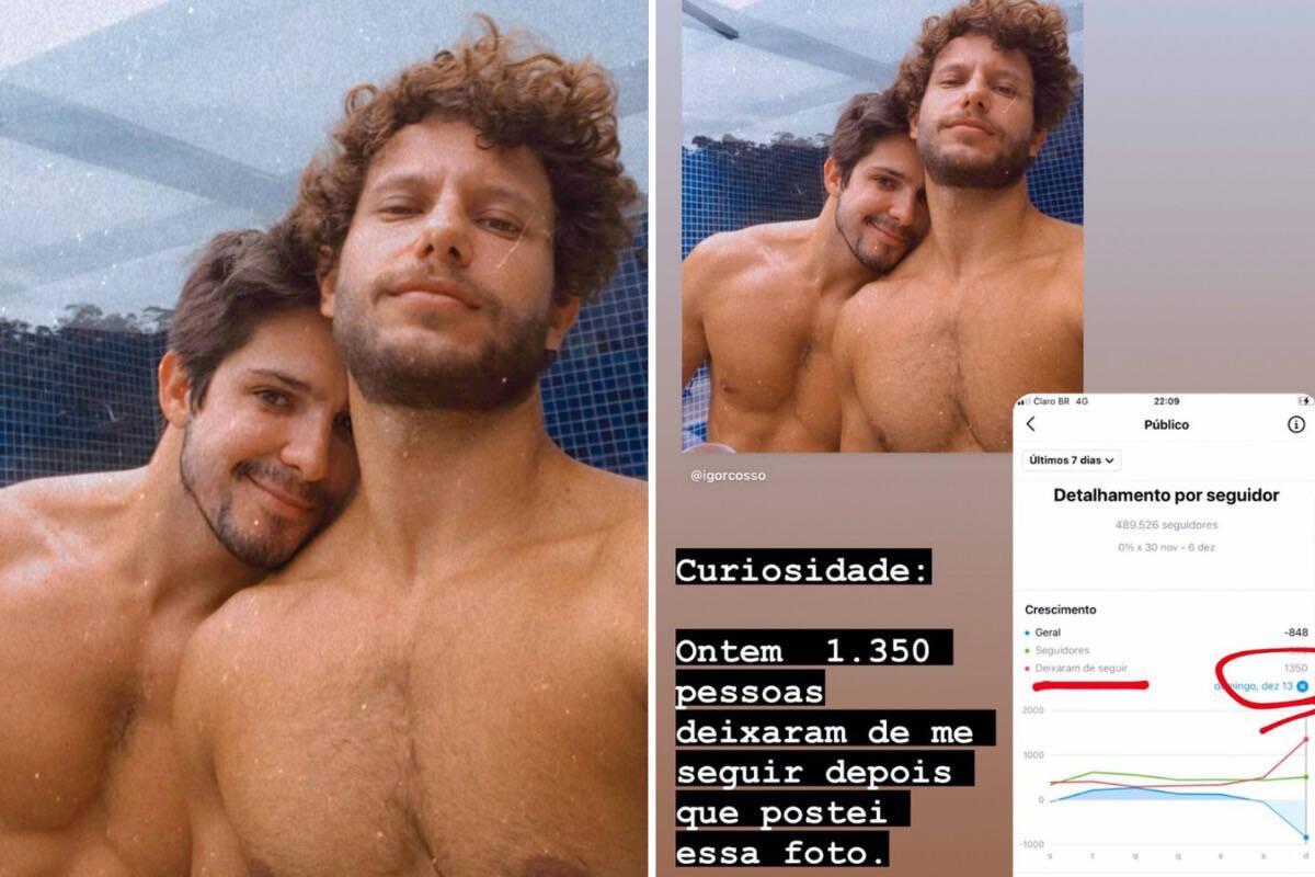 Ator de novela perde 1,3 mil seguidores após postar foto com o namorado