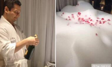 Andressa Urach mostra noite de núpcias com banheira com pétalas de rosa