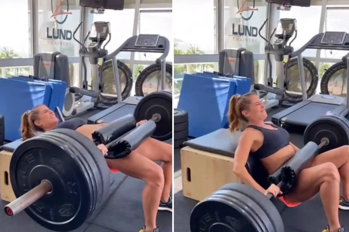 Deborah Secco levanta muito peso na academia e impressiona
