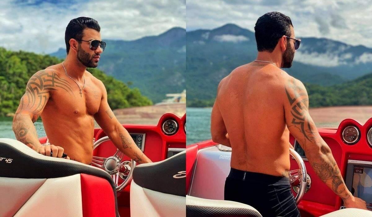 Gusttavo Lima posa pilotando lancha luxuosa avaliada em mais de R$ 1 milhão