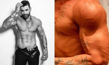 Gusttavo Lima exibe os músculos e veias saltadas em novo clique