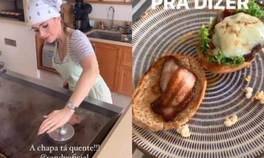 "Lucas Lima mostra Sandy fazendo hambúrguer: ""a chapa tá quente"""
