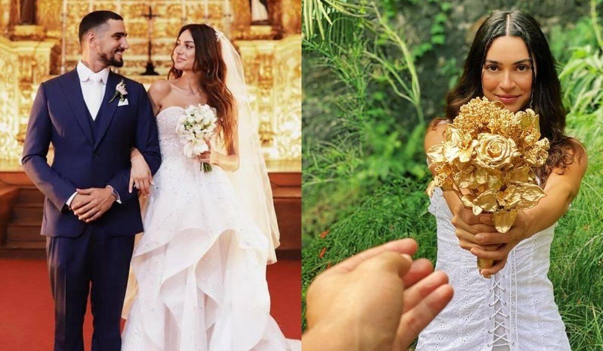 Thaila Ayala eterniza em ouro o seu buquê de casamento com Renato Góes