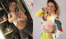 Vera Fisher faz clique em frente ao espelho sem maquiagem e exibe o abdômen