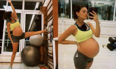Talita Younan exibe a prática de exercícios físicos no nono mês de gestação