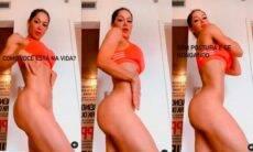 Sem calcinha, Mayra Cardi ensina como empinar bumbum e diminuir barriga em fotos