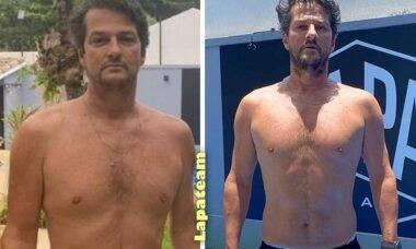 """Marcelo Serrado mostra o antes e depois após começar a treinar: """"perdi 6 kg"""""""