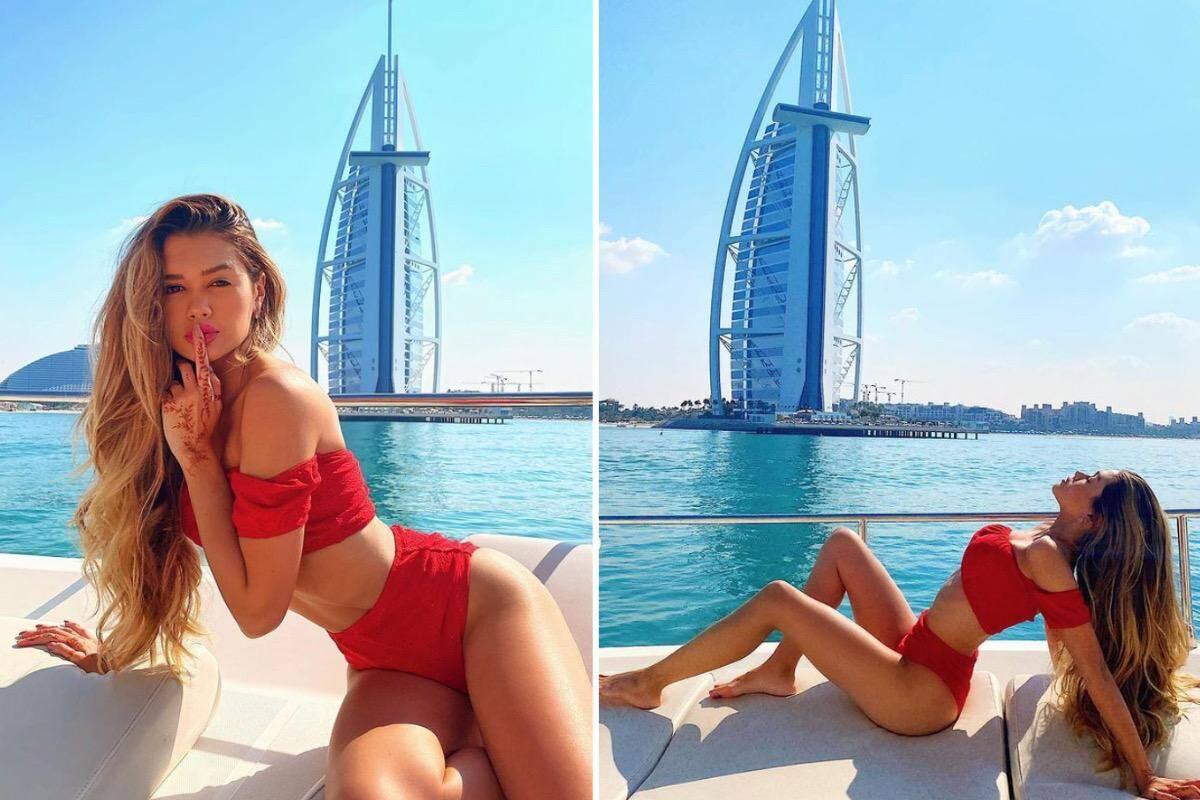 Novo affair de Luan Santana, Franciny Ehlke passeia de lancha em Dubai
