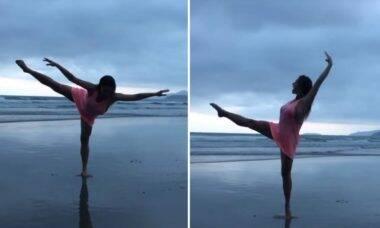 Leticia Spiller dança na praia ao som de Rita Lee