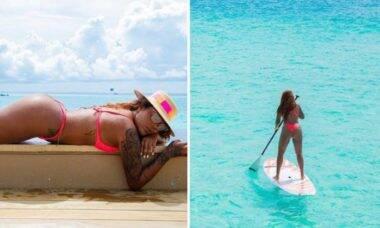 Ludmilla toma sol e pratica stand up nas Maldivas